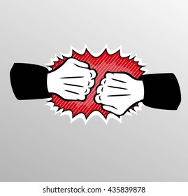 Two fists punching each other