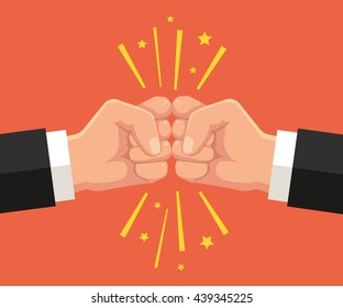 Two fists punching each other. Vector flat cartoon illustration