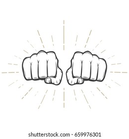 Two fists with sunbursts on white background  vector illustration.