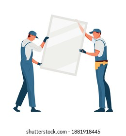 Two fitters installing plastic window flat vector illustration