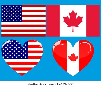 two flags and two American Canadian heart on a white background