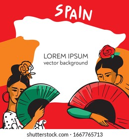 Two flamenco dancers with fans in their hands on the background of a map of Spain. Banner template for postcards, invitations, and posters. Concept of symbols of Spanish culture. Vector illustration.