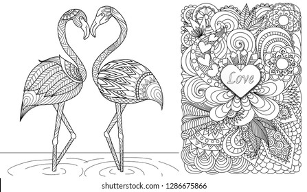 Two flamingos in love and hearted floral background for design element and coloring book,coloring page or colouring picture. Vector illustration