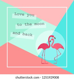 Two flamingos in love. Romantic Valentine's Day greeting card template
