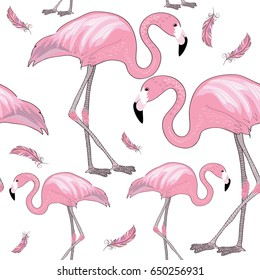 Two flamingos with pink feathers. Seamless pattern. Vector illustration on white background