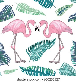 Two flamingos with tropical leaves around. Seamless pattern. Vector illustration on white background
