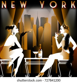 Two flapper girls in the restaurant with views of the skyscrapers of new York. Travel or retro party invitation card. Handmade drawing vector illustration. Art Deco style.