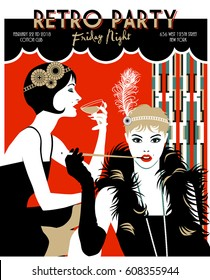 Two Flapper girls. Retro Party invitation card. Handmade drawing vector illustration. Art Deco style