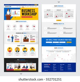 Two flat design web pages presenting detailed information about business traning courses isolated on grey background vector illustration