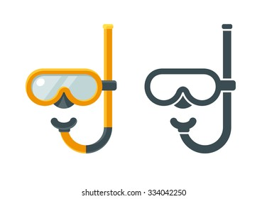 Two flat icons of giving mask with snorkel, colored and solid. Isolated vector illustration.