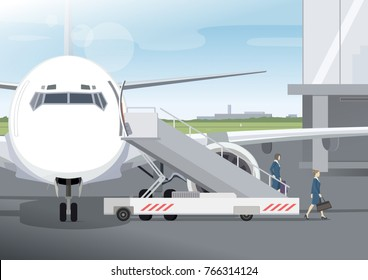Two flight attendant down the ladder after flight. Two air hostess in blue uniforms with bags going to airport terminal. Vector illustration.