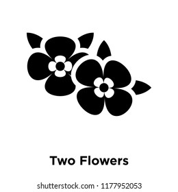 Two Flowers icon vector isolated on white background, logo concept of Two Flowers sign on transparent background, filled black symbol