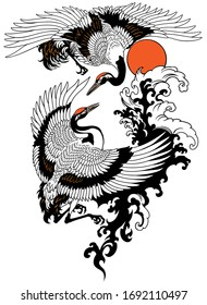 Two flying cranes with water waves and red sun. Tattoo vector illustration