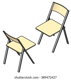Two folding chairs in a face to face arrangement.