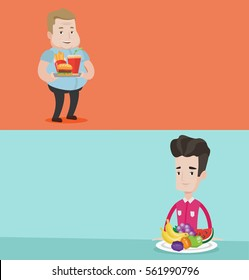 Two food banners with space for text. Vector flat design. Horizontal layout. Fat caucasian man holding tray with fast food. Plump man having a lunch in a fast food restaurant. Man eating hamburger.