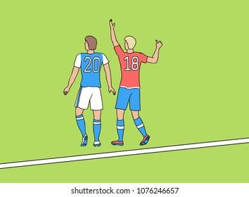 Two football players with numbers on T-shirts 2018. Green soccer field with white line. Outline vector illustration EPS-8..