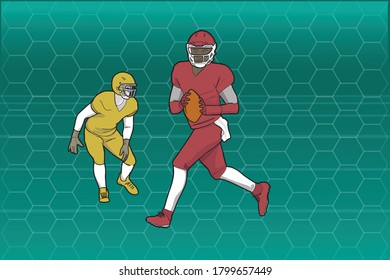 Two football players over abstract background