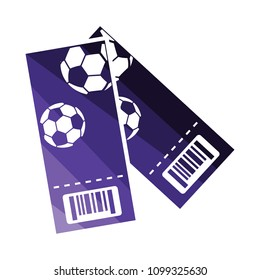 Two football tickets icon. Flat color design. Vector illustration.