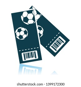 Two Football Tickets Icon. Shadow Reflection Design. Vector Illustration.
