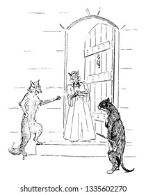 Two foxes standing at the door talking to cat standing in front of them, vintage line drawing or engraving illustration