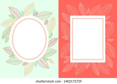 Two frames with floral, leafy design. Round and rectangular substrate with copy space, white and multi-colored streaks leaves