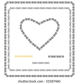 two frameworks and heart from a bicycle chain