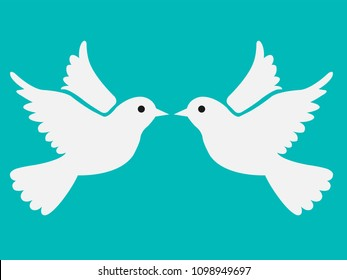 Two free flying white doves, vector illustration isolated on bluish green background, pigeons flapping wings, symbol of love and romance, marriage icon