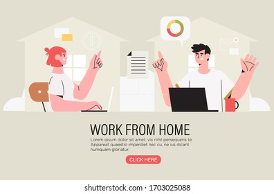 Two freelancer coworkers working at home office on a laptop and have conversation about project or settle business tasks . Video or online conference call with fellow distant workers or partner.