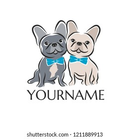 two french bulldogs as dog breeding symbol for logo. vector
