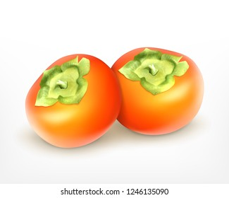Two fresh juicy persimmon. Realistic vector icon. EPS10
