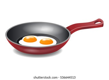 Two Fried eggs in Red Frying Pan isolated on white background. Vector eps 10.