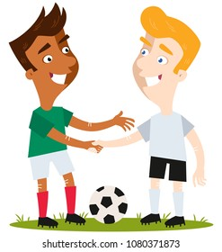 Two friendly cartoon soccer players standing on football field with the ball shaking hands respectfully isolated on white background