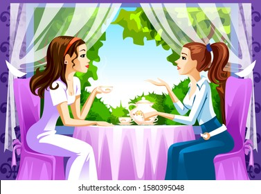 Two friends in a cafe drinking tea. Tea time