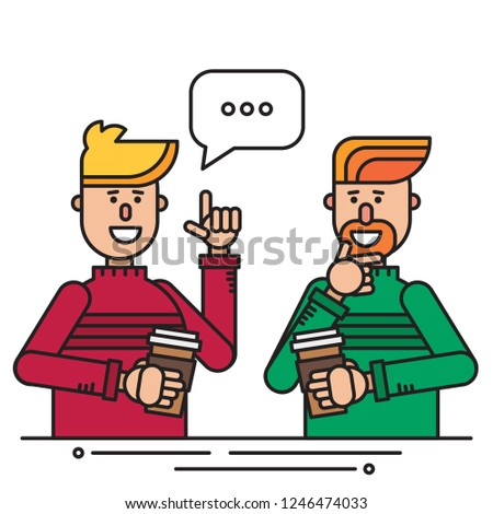 Two Friends Have Coffee Break Talk Stock Vector Royalty Free