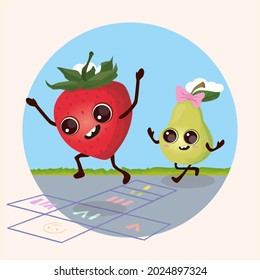 Two friends strawberry and pear play classics at school break