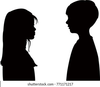 two friends talking, black color silhouette vector