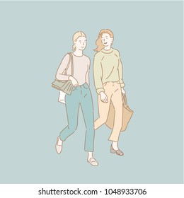 two friends walking. hand drawn style vector doodle design illustrations.