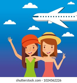 two friends woman tourist travler vacation fly airplane