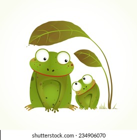 Two Frogs Mother and Baby Childish Animal Cartoon. Hand drawn watercolor style drawing of animals. Vector illustration EPS10.