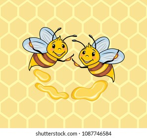 Two funny bees on the honeycomb background. Vector