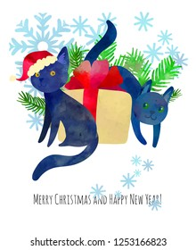 Two funny black cats with present. Christmas greeting card. Cartoon illustration. Vector with watercolor texture.