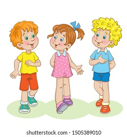 Two funny boys and one cute girl are walking and talking. In cartoon style. Isolated on white background. Vector illustration.