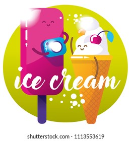 Two funny and bright ice cream. Cartoon style. Summer mood vector illustration. Eskimo ice cream and cone ice cream making photos.