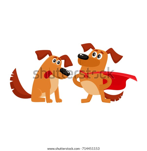 Two Funny Brown Dog Characters One Stock Vector Royalty Free