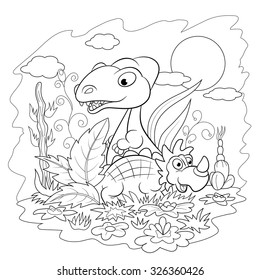 Two Funny Cartoon Dinosaur Among The Flowers And Plants Coloring Book