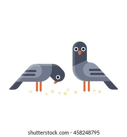 Two funny cartoon pigeons illustration. Geometric flat vector style.
