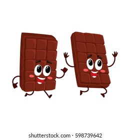 Two funny chocolate bar characters, one chasing, running after the other, cartoon vector illustration isolated on white background. Couple of funny chocolate characters, mascots