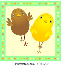 Two funny and cute chicken on a light background, yellow and brown. Flat vector illustration for decoration and embroidery
