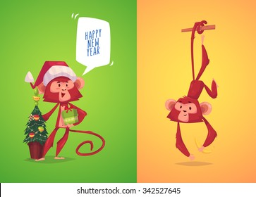 Two funny monkeys. Monkey with present in her hand and monkey hanging on a branch.  The simbol of new year.  Vector illustration.