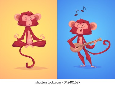 Two funny monkeys. Yoga in the lotus position and a singer with a guitar. The simbol of new year.  Vector illustration.